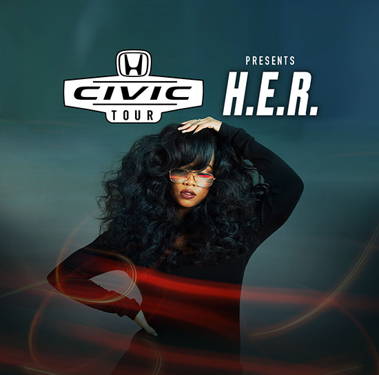 The Civic Tour presents H.E.R. The artist is shown posing in front of a blurred blue background with red and orange graphic accents.