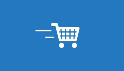 Un icono de carrito de compra en movimiento acompaña la descripción del beneficio.