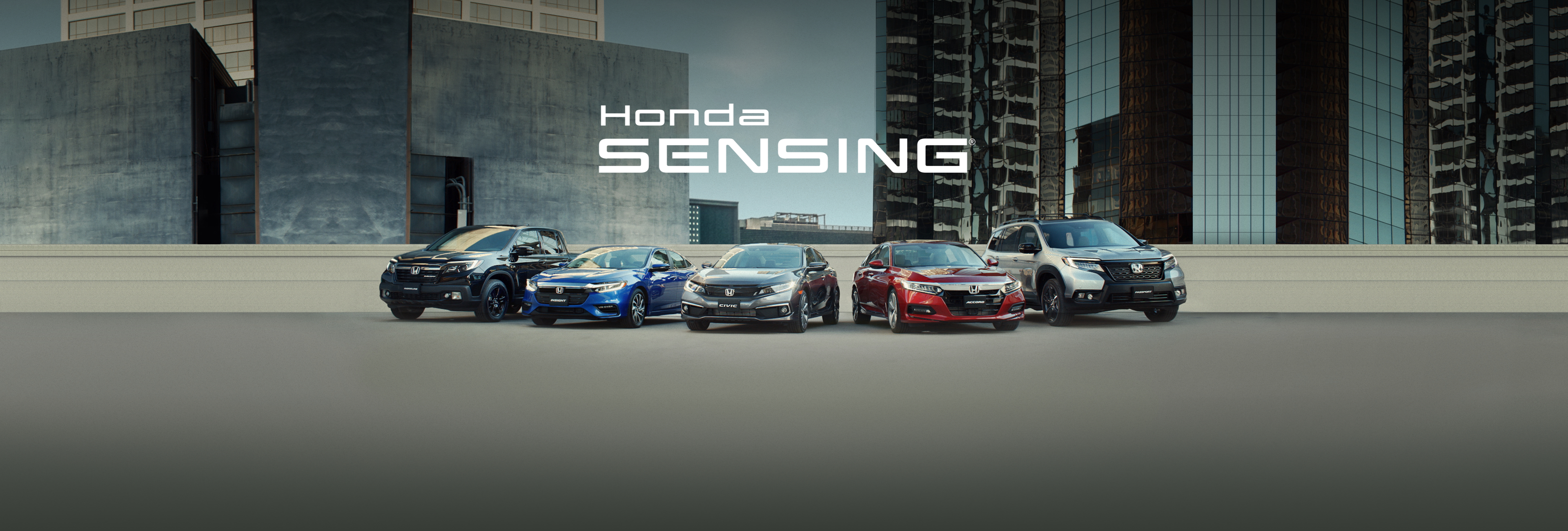 Vehicles equipped with Honda Sensing®, including the 2019 Honda Ridgeline, Insight, Civic Sedan, Accord and Passport, shown in an urban environment.