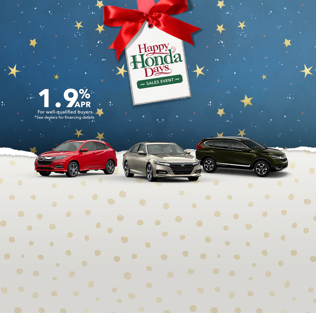 The 2019 Honda Civic Sedan, the 2019 Honda Accord and the 2019 Honda CR-V against an illustrated holiday background.