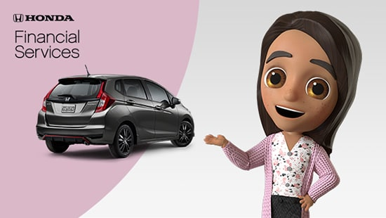 Rear passenger-side view of the 2020 Honda Fit is shown alongside the Honda Financial Services logo.