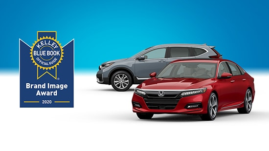 A 2020 Honda Accord in Radiant Red Metallic positioned in front of a 2020 Honda CR-V in Sonic Gray Pearl, with a KBB.com logo next to them.