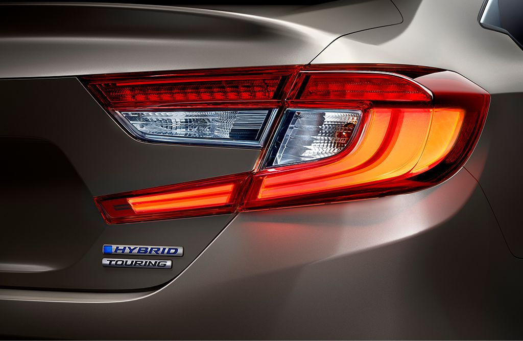 LED taillights on 2019 Honda Accord Hybrid Touring in Champagne Frost Pearl.