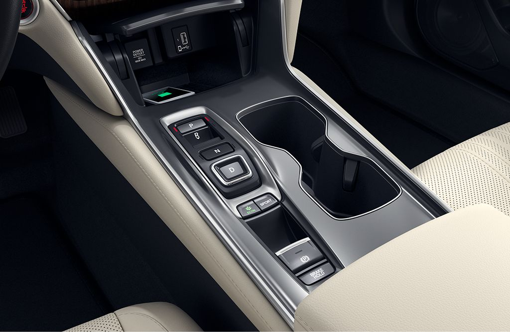 Detail shot of the center console in the 2019 Honda Accord Hybrid Touring.