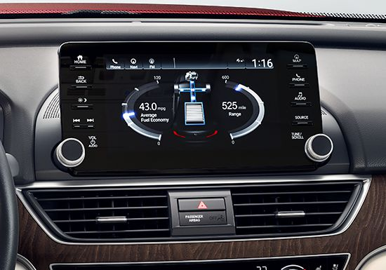 Detail Shot Of The 8 Inch Display Audio Touch Screen Featuring Fuel Levels In