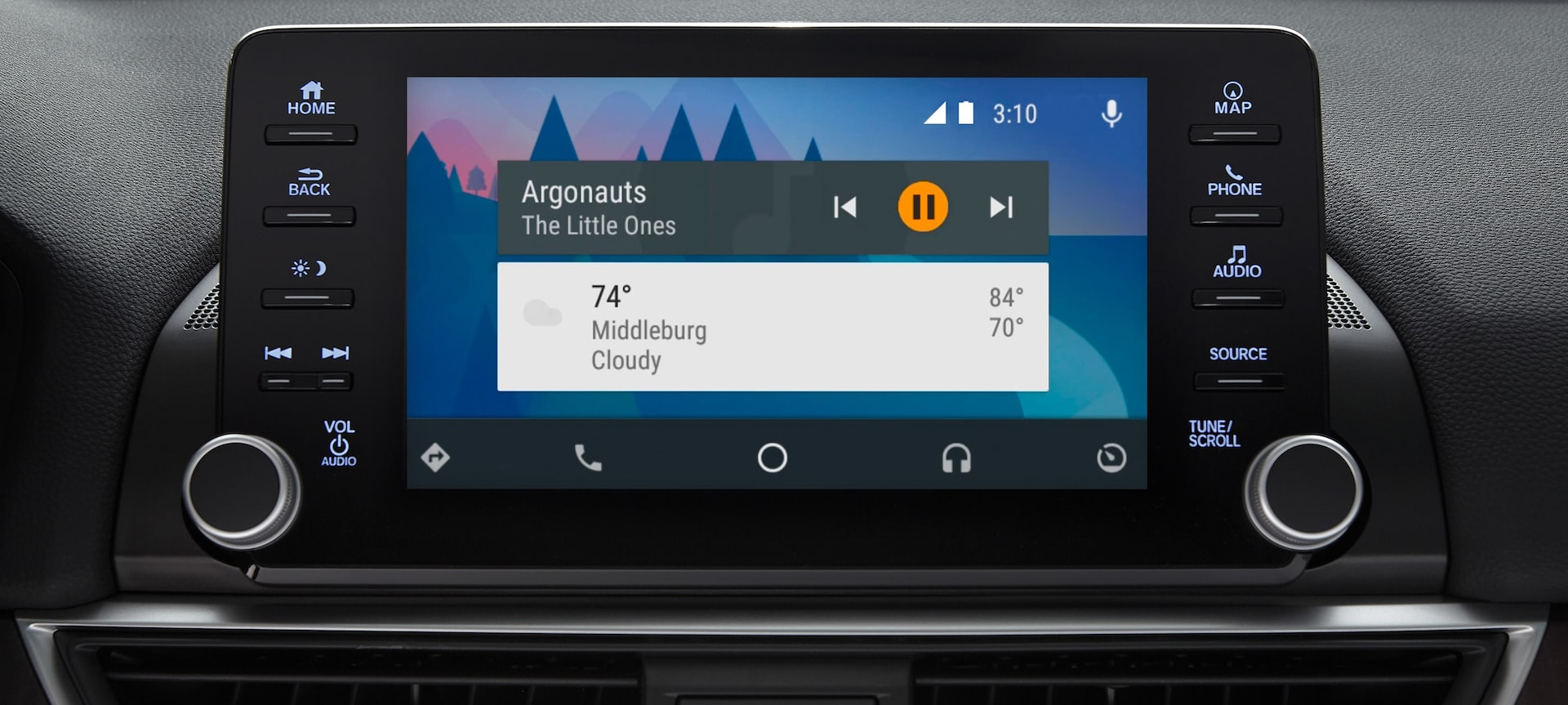 Detail of Android Auto™ display on touch-screen in the 2019 Honda Accord.