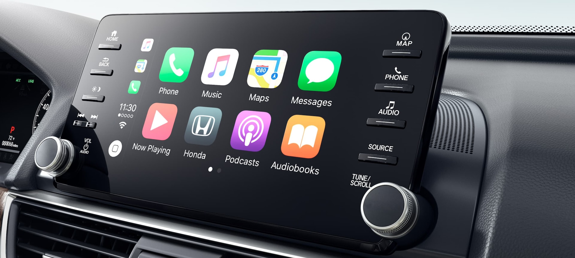 Detail of Apple CarPlay™ display on touch-screen in the 2019 Honda Accord.