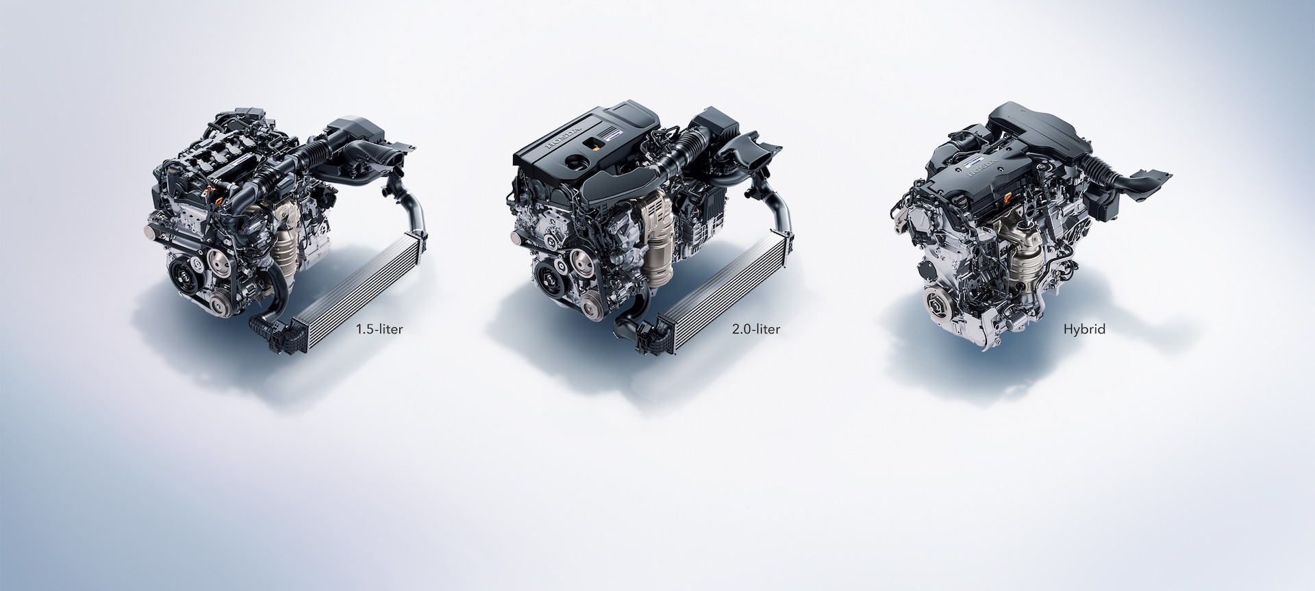 Advanced powertrain detail on 2020 Honda Accord depicting 1.5-liter and 2.0-liter turbocharged engines and next-generation two-motor hybrid system.