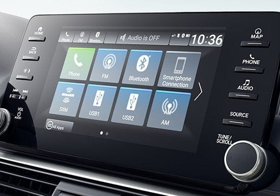 Detail shot of the 2019 Honda Accord 8-inch Display Audio touch-screen.