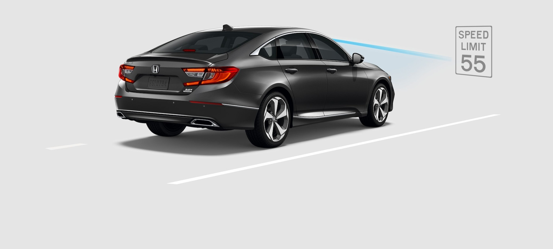 Rear 3/4 of 2019 Honda Accord with demonstration of Traffic Sign Recognition (TSR).