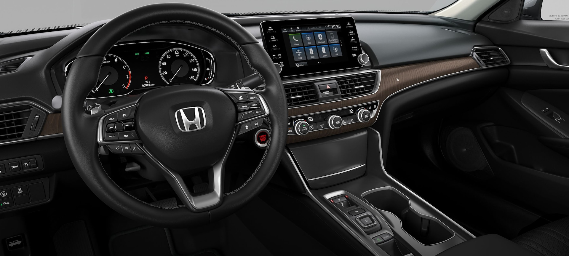 Interior view of dash and instrument panel in the 2019 Honda Accord Touring 2.0T shown in Black Leather.