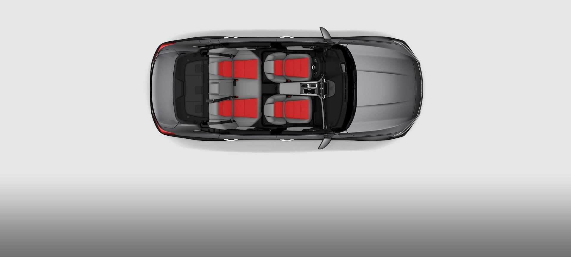Overhead of interior of 2019 Honda Accord Touring 2.0T with graphic illustration of ventilated and heated front seats, and heated rear outboard seats.