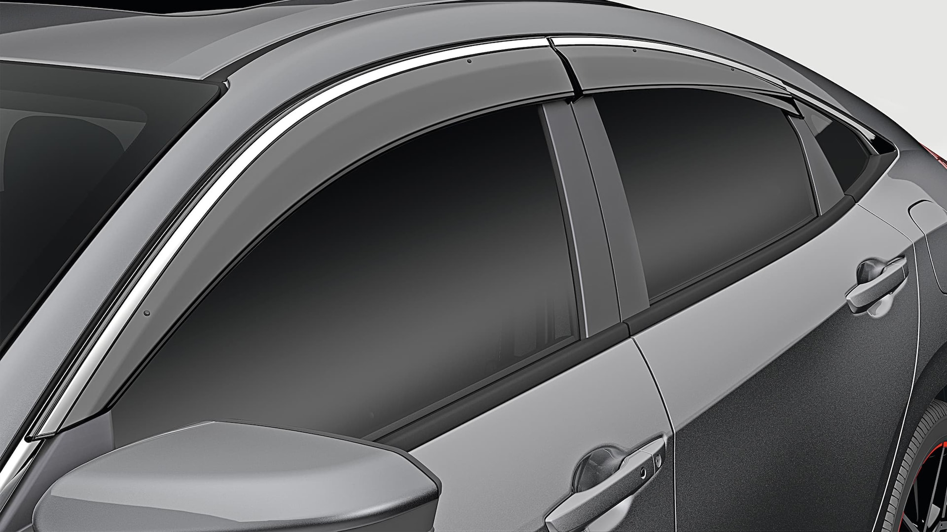 Door visor detail on the 2020 Honda Civic Sedan in Modern Steel Metallic.
