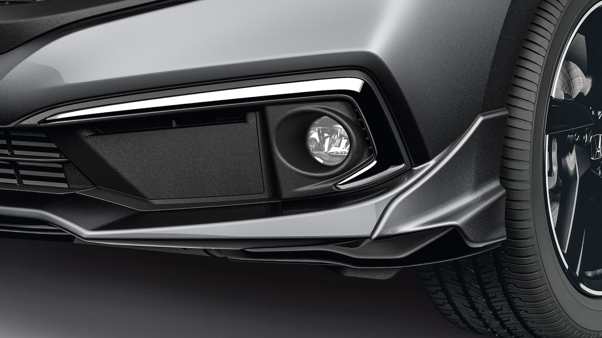 LED fog lights detail on the 2020 Honda Civic Sedan in Modern Steel Metallic.