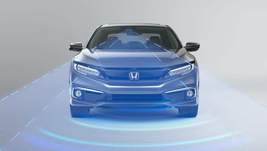 Demonstration of the Honda Sensing® Adaptive Cruise Control feature. Plays video. Opens a dialog.