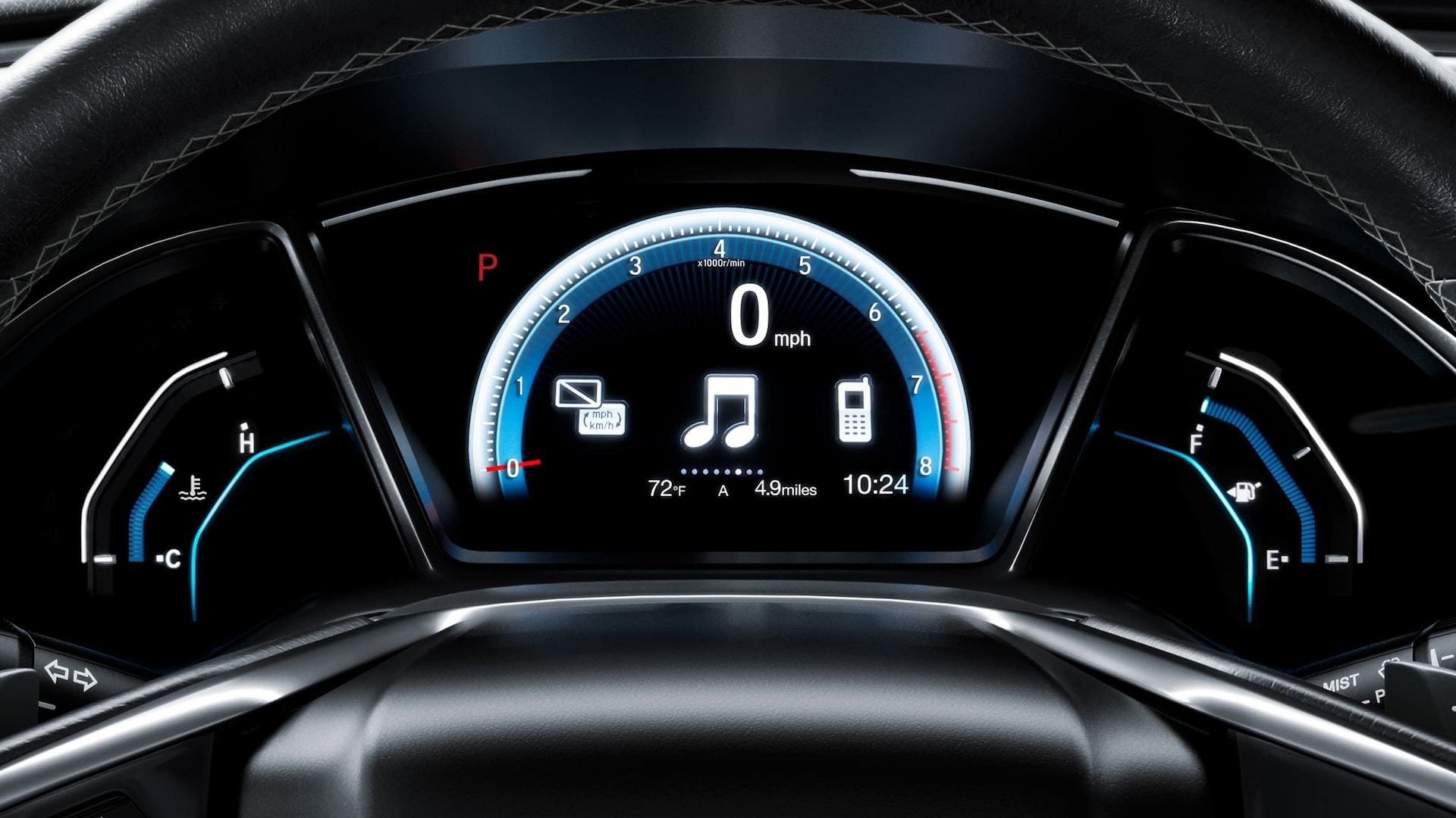 Driver Information Interface detail in the 2020 Honda Civic Touring Sedan.