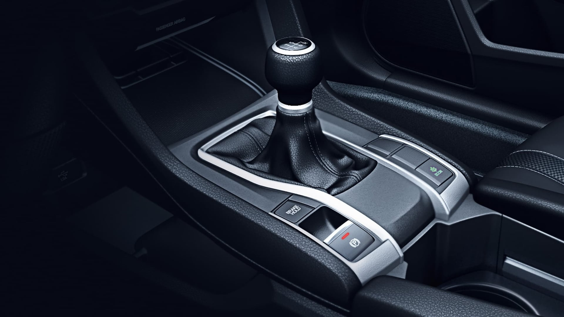 6-speed manual transmission shifter detail in 2019 Honda Civic LX Sedan.