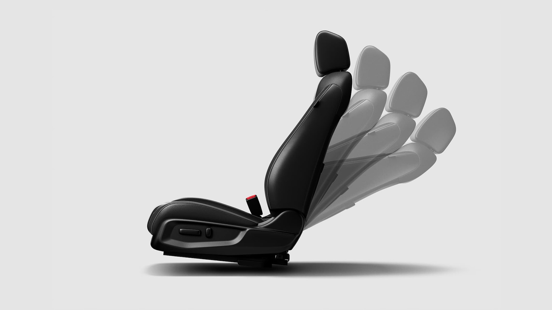 Detail of 8-way power-adjustable driver's seat, in various position settings, for the 2020 Honda Civic Touring Sedan.
