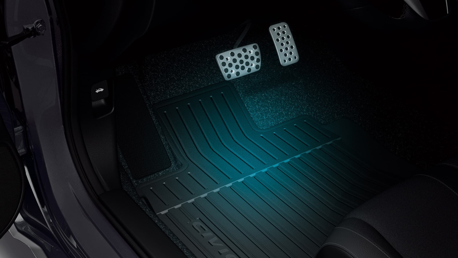 Illuminated all-season floor mat detail in the 2020 Honda Civic Sedan.