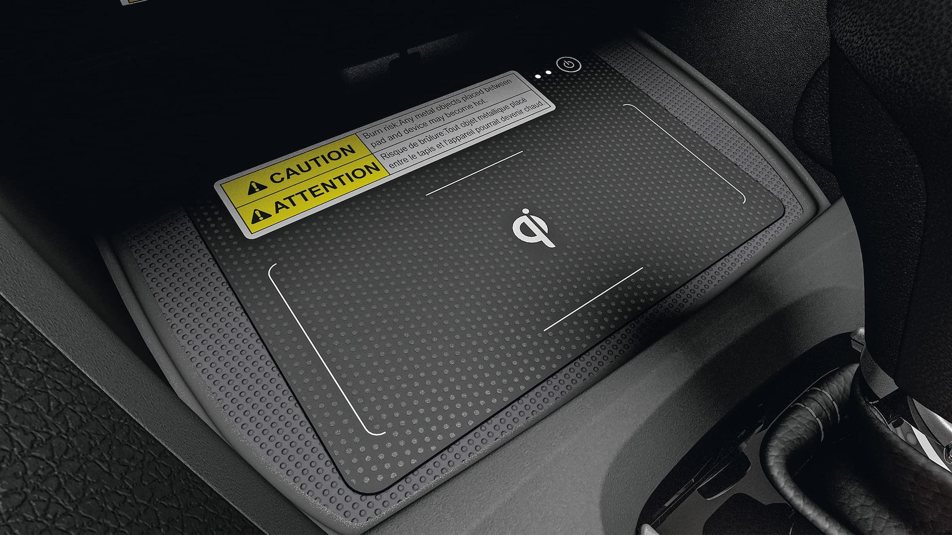 Wireless phone charger detail in the 2020 Honda Civic Sedan.