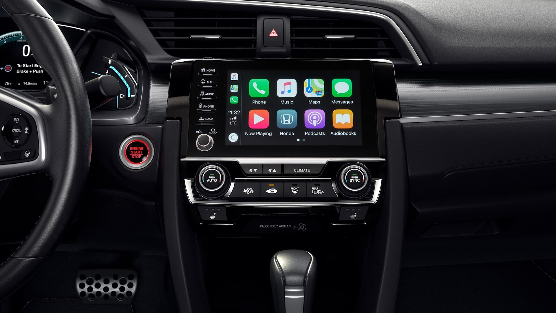 Apple CarPlay® detail on Display-Audio touchscreen in the 2019 Honda Civic Touring Sedan.
