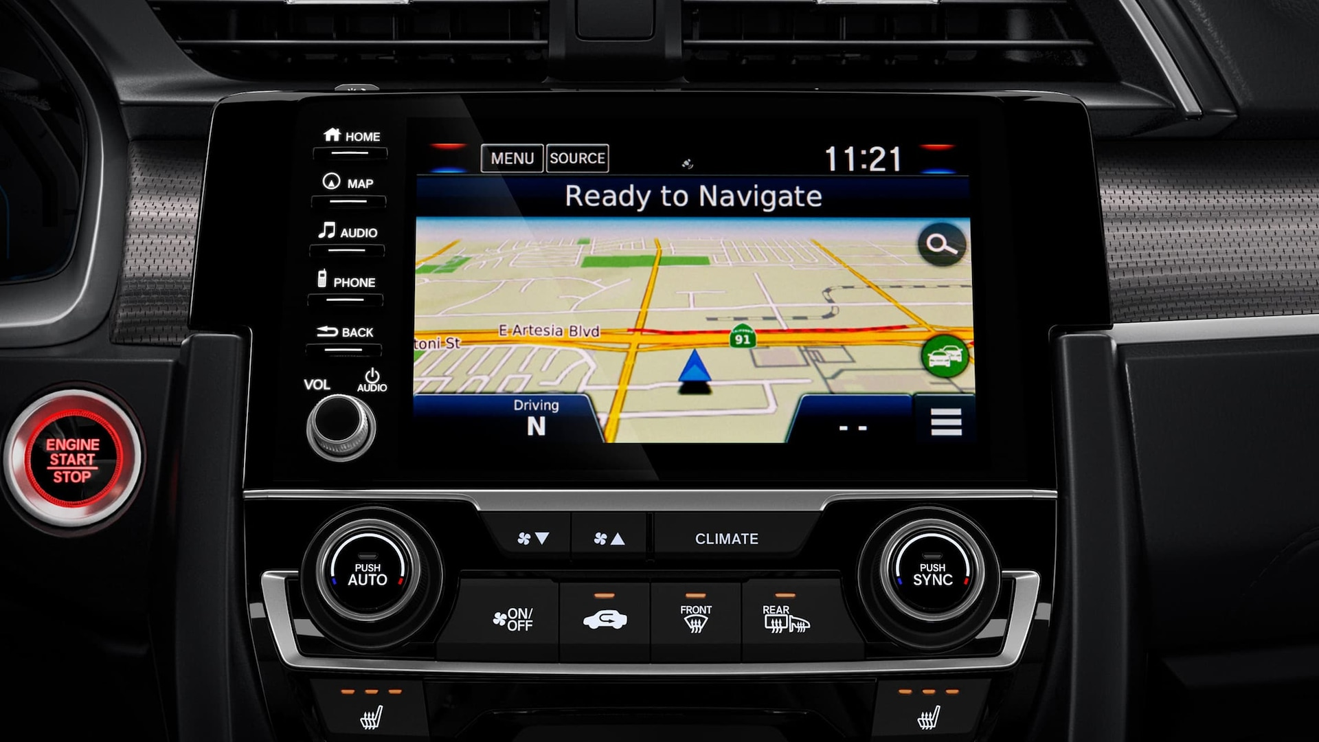Honda Satellite-Linked Navigation System™ detail on Display Audio touch-screen in the 2020 Honda Civic Touring Sedan.