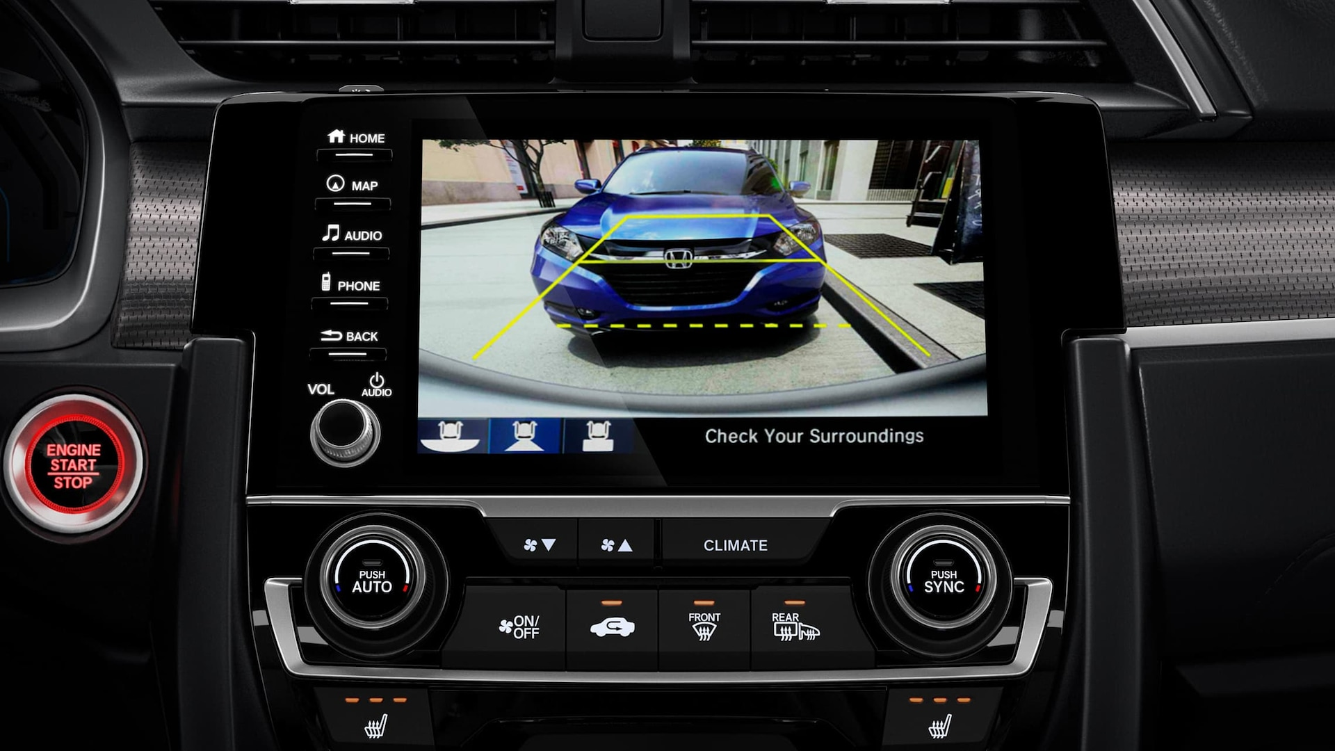 Multi-angle rearview camera detail on Display-Audio touchscreen in 2019 Honda Civic Touring Sedan.