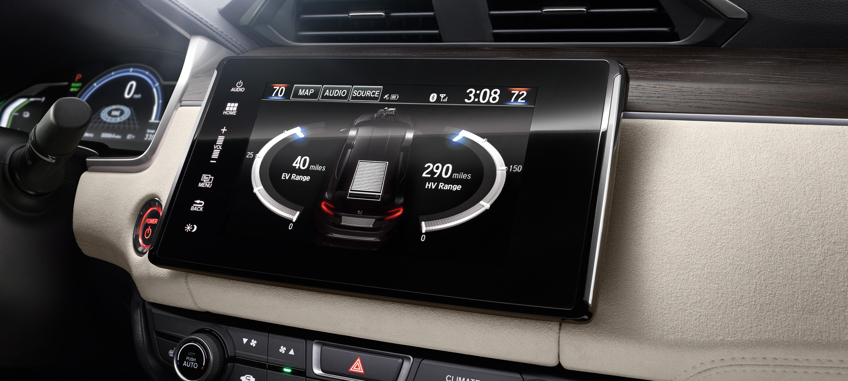 Display Audio touch-screen detail in 2019 Honda Clairty PHEV with beige interior.