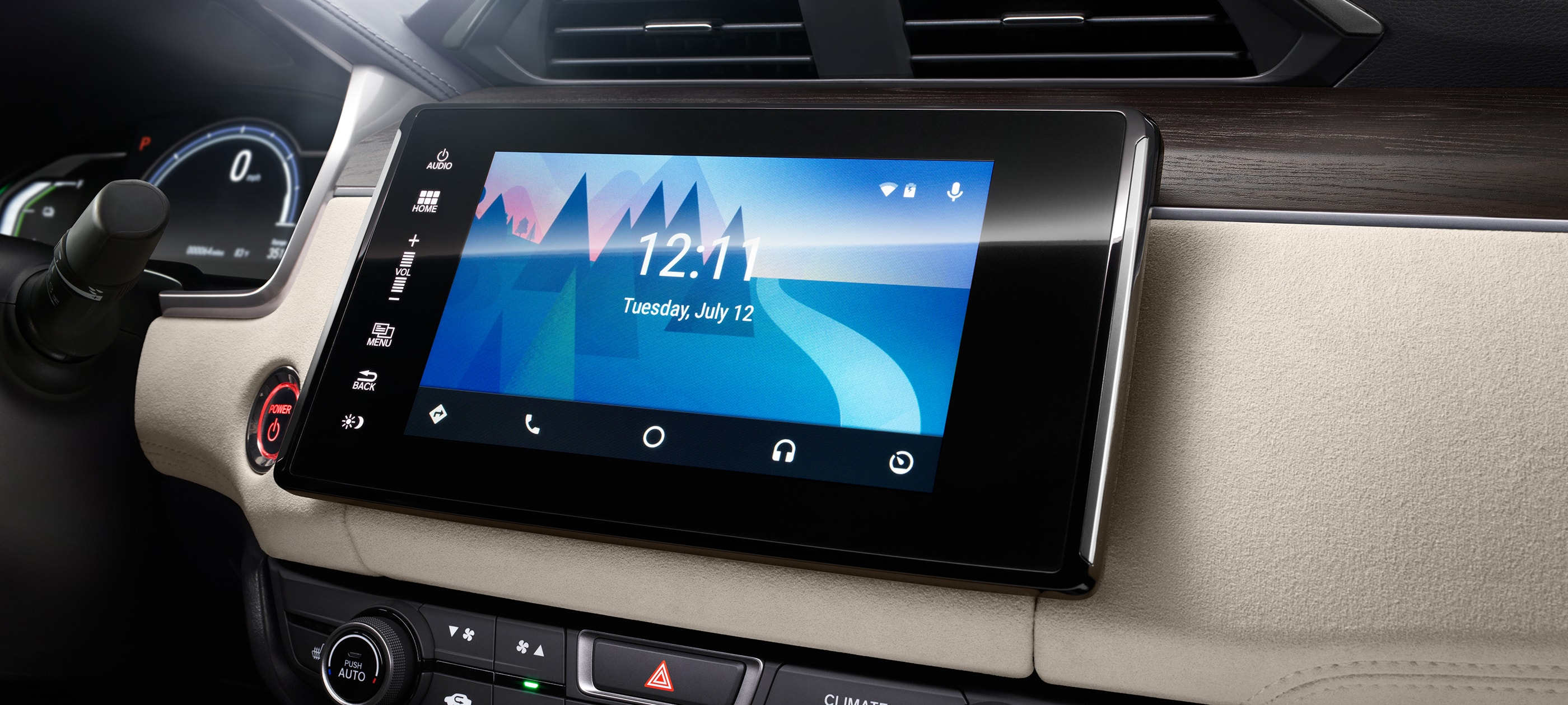 Android Auto™ detail on Display Audio touch-screen in 2019 Honda Clarity PHEV with beige interior.