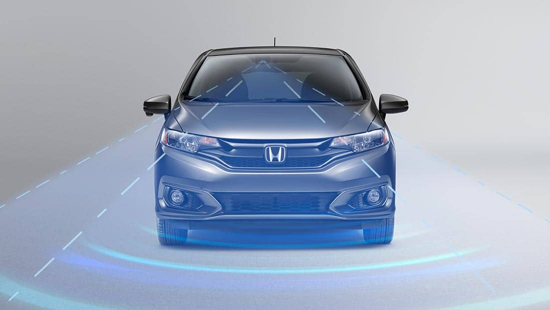 Illustrated demonstration of Honda Sensing® on the 2020 Honda Fit EX-L in Modern Steel Metallic.