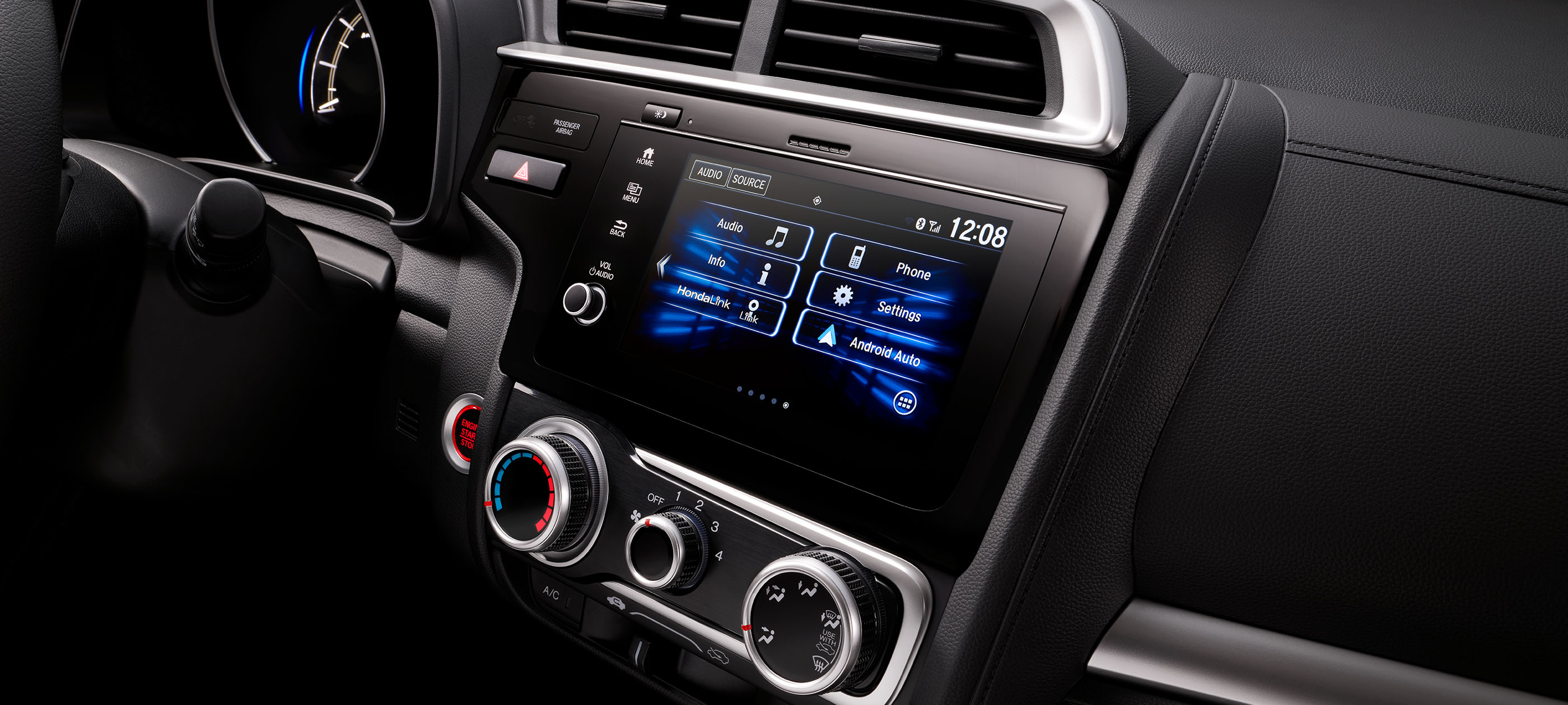 Android Auto™ detail on Display Audio touch-screen in 2019 Honda Fit Sport CVT with black interior.