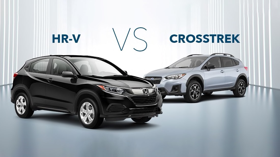 Front 3/4 passenger's sideview of the Honda HR-V in Crystal Black Pearl parked in front of a competitor's vehicle