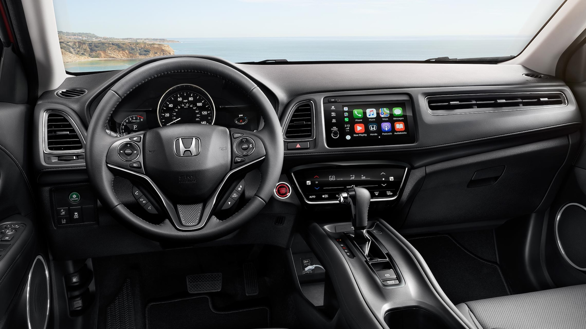 Interior cabin view of instrument panel in the 2019 Honda HR-V Touring in Black Leather.