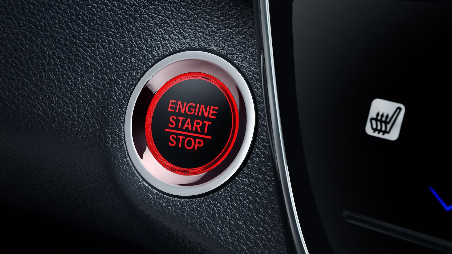 Detalle del botón de arranque en la Honda HR-V Touring2019.