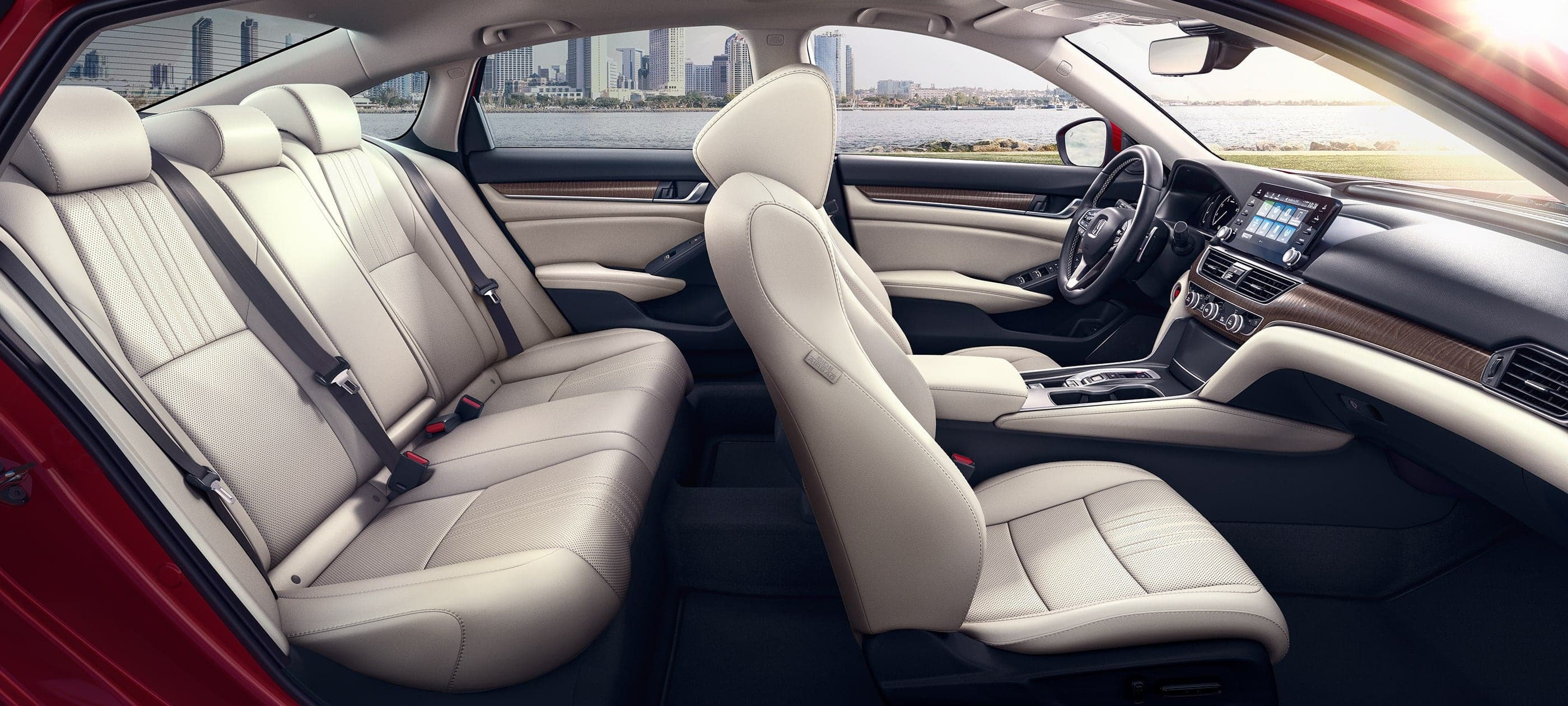 Interior passenger-side profile view of the 2020 Honda Accord Touring 2.0T with Ivory interior.