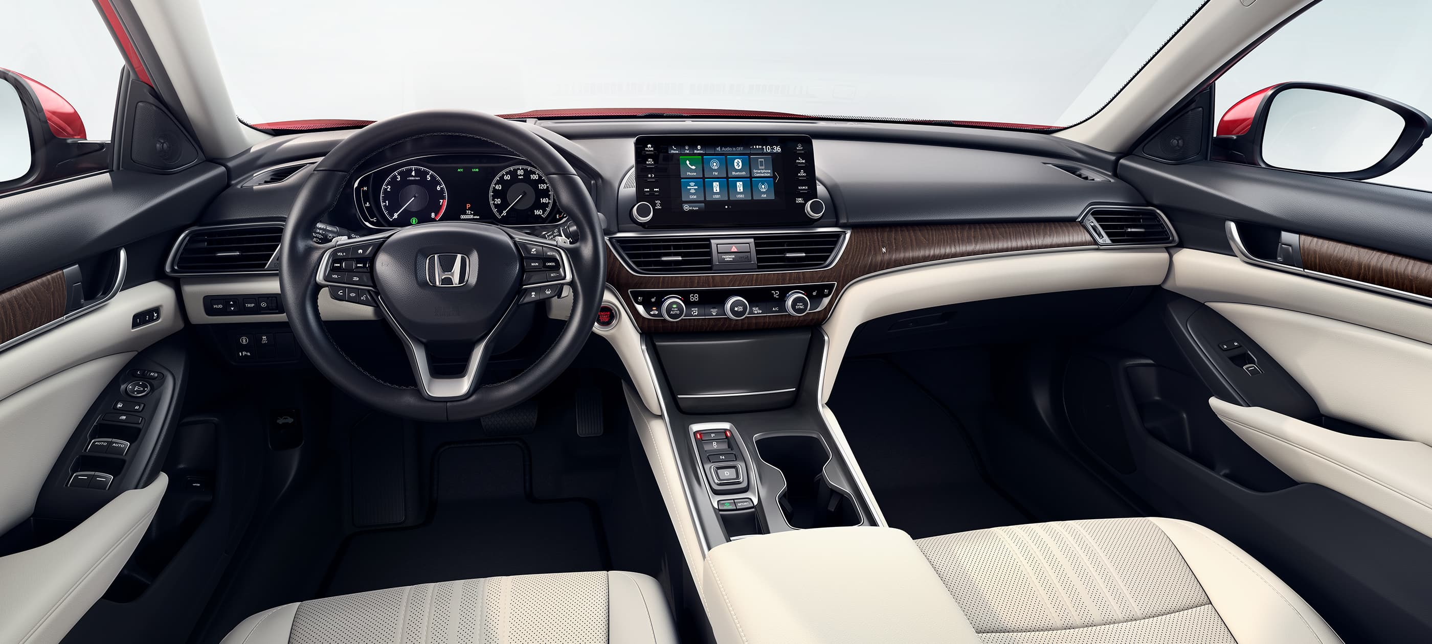 Interior view of steering wheel and dashboard in the 2020 Honda Accord Touring 2.0T with Ivory Leather.