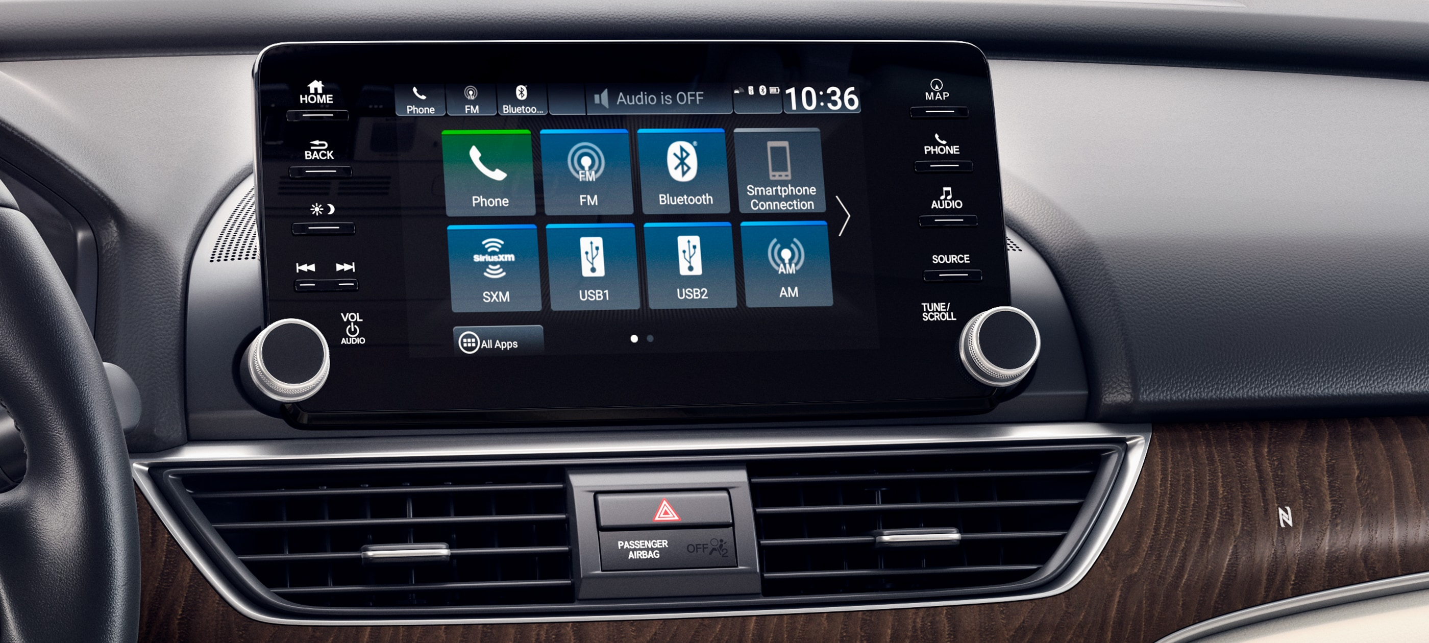 Display Audio touch-screen detail in 2020 Honda Accord Touring 2.0T with Ivory Leather.