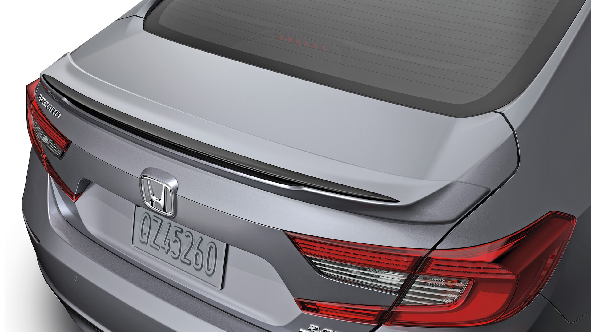 Decklid spoiler accessory detail on the 2020 Honda Accord.