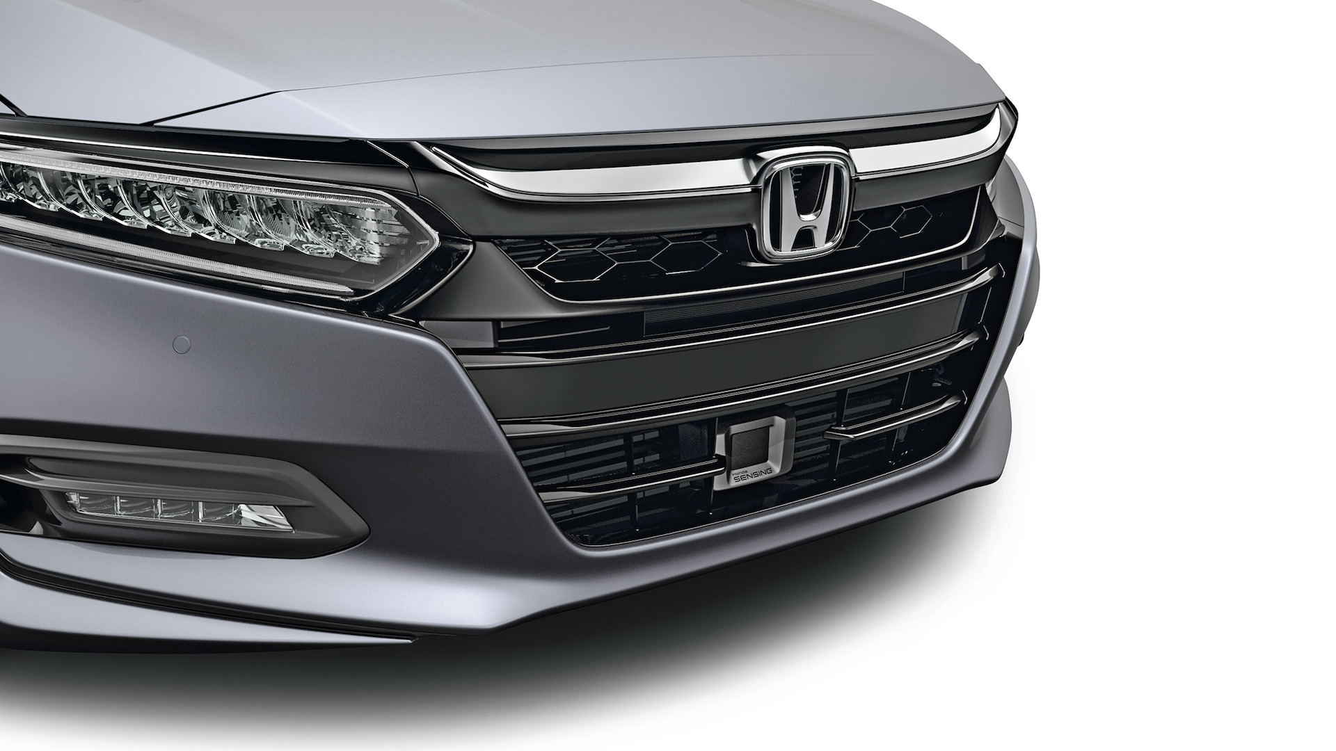 Sport grille accessory detail on the 2020 Honda Accord in Modern Steel Metallic.