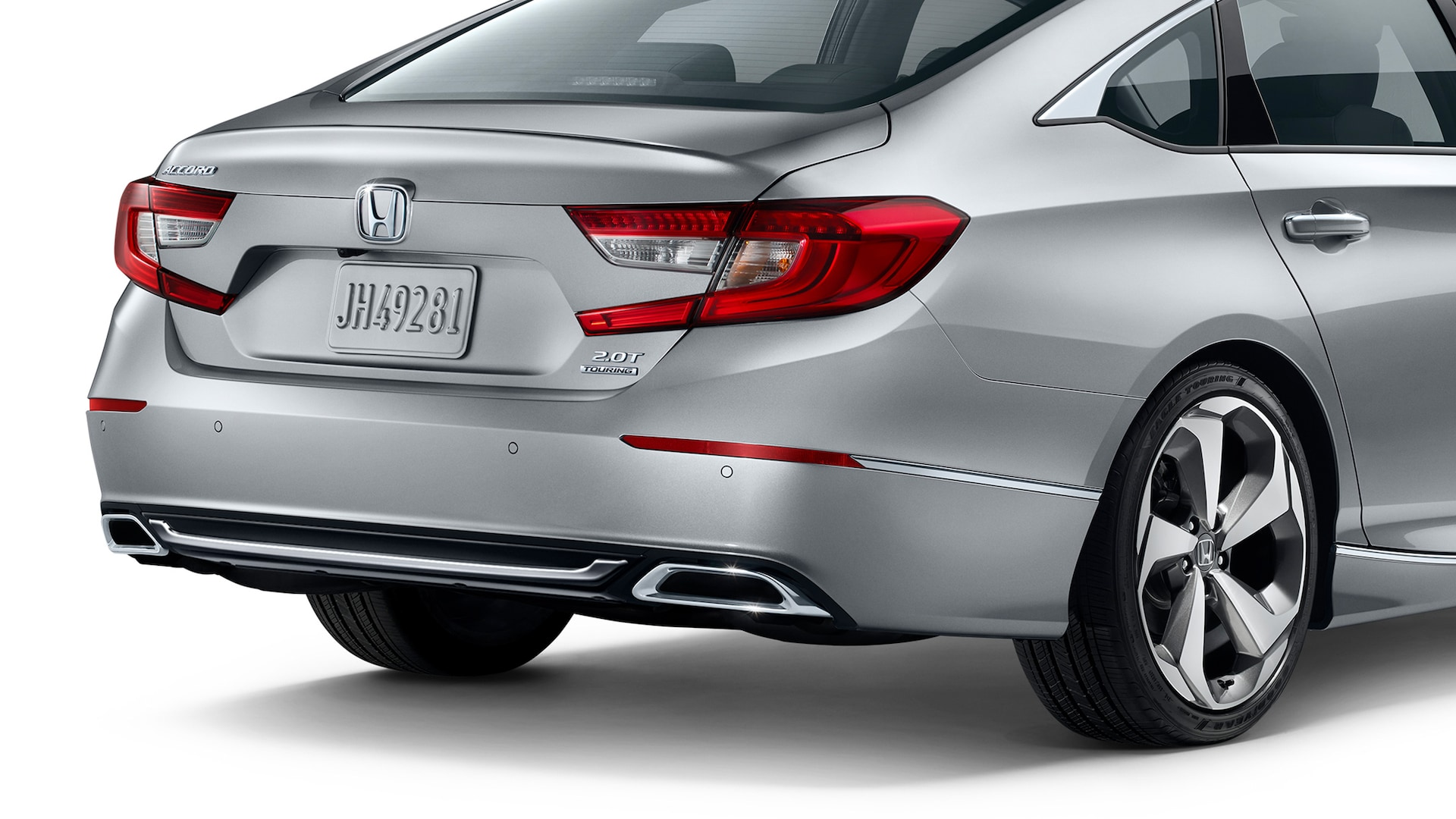 Rear passenger-side view of 2020 Honda Accord in Lunar Silver Metallic.