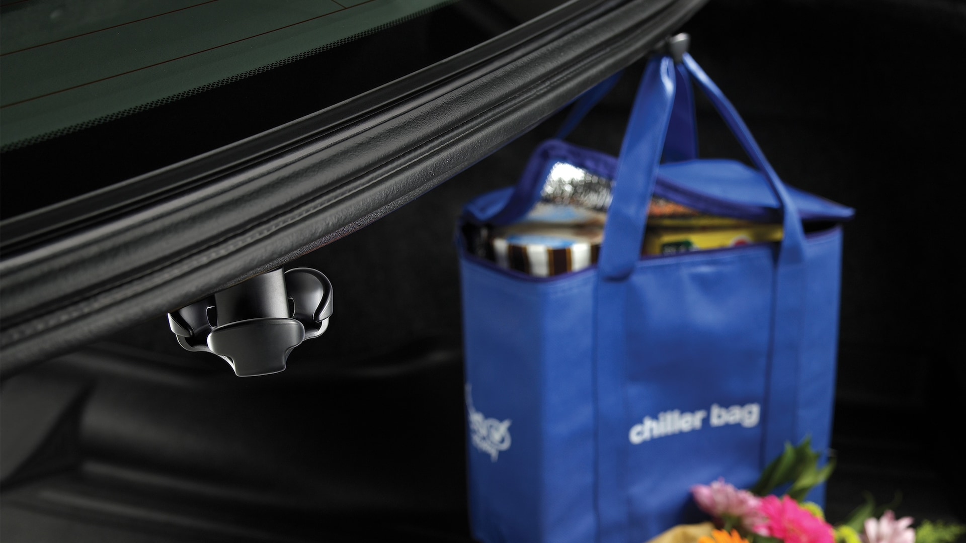Accessory cargo hook detail in the 2020 Honda Accord, holding groceries.