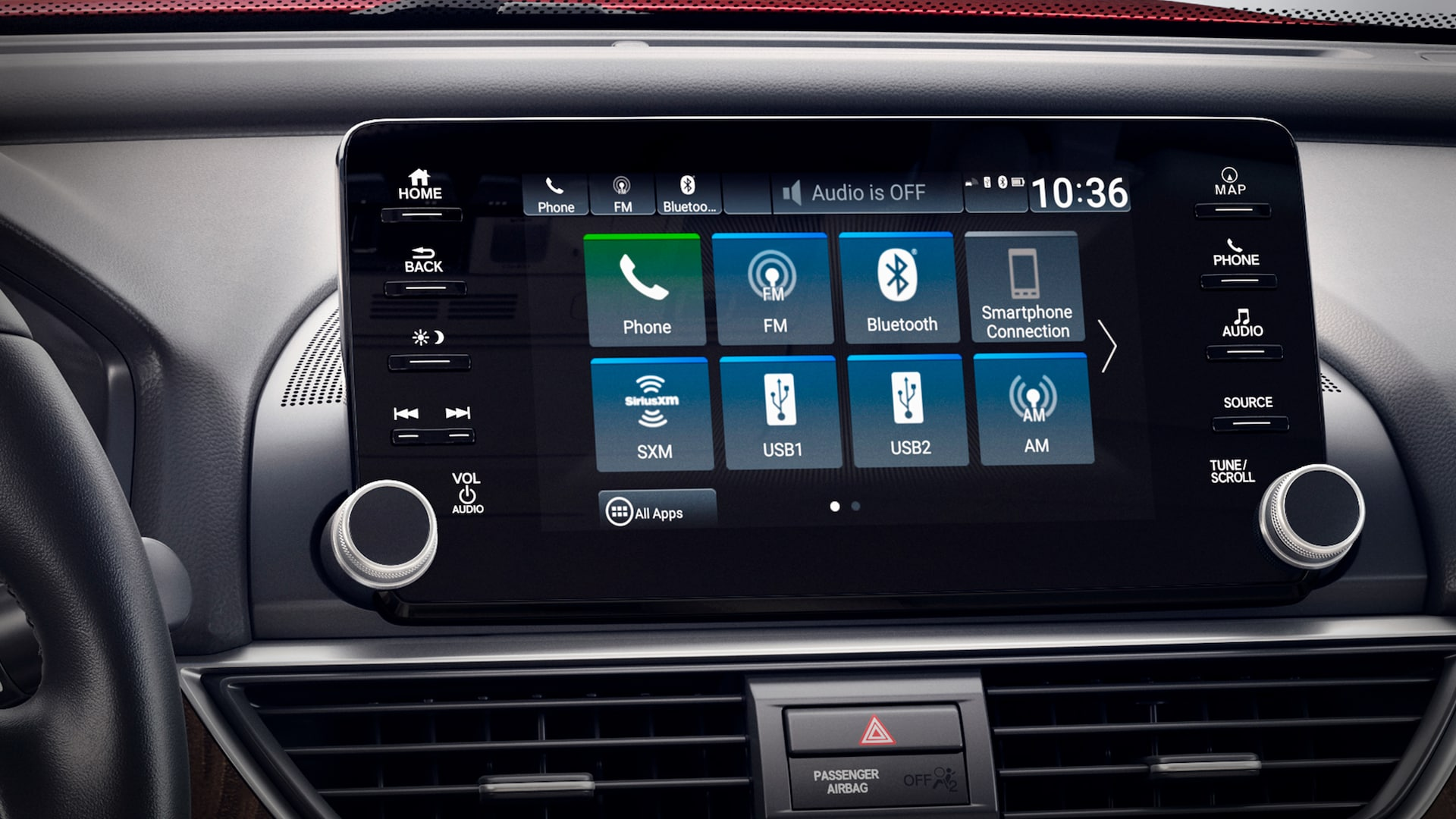 8-inch Display Audio touch-screen detail in the 2020 Honda Accord Touring 2.0T.