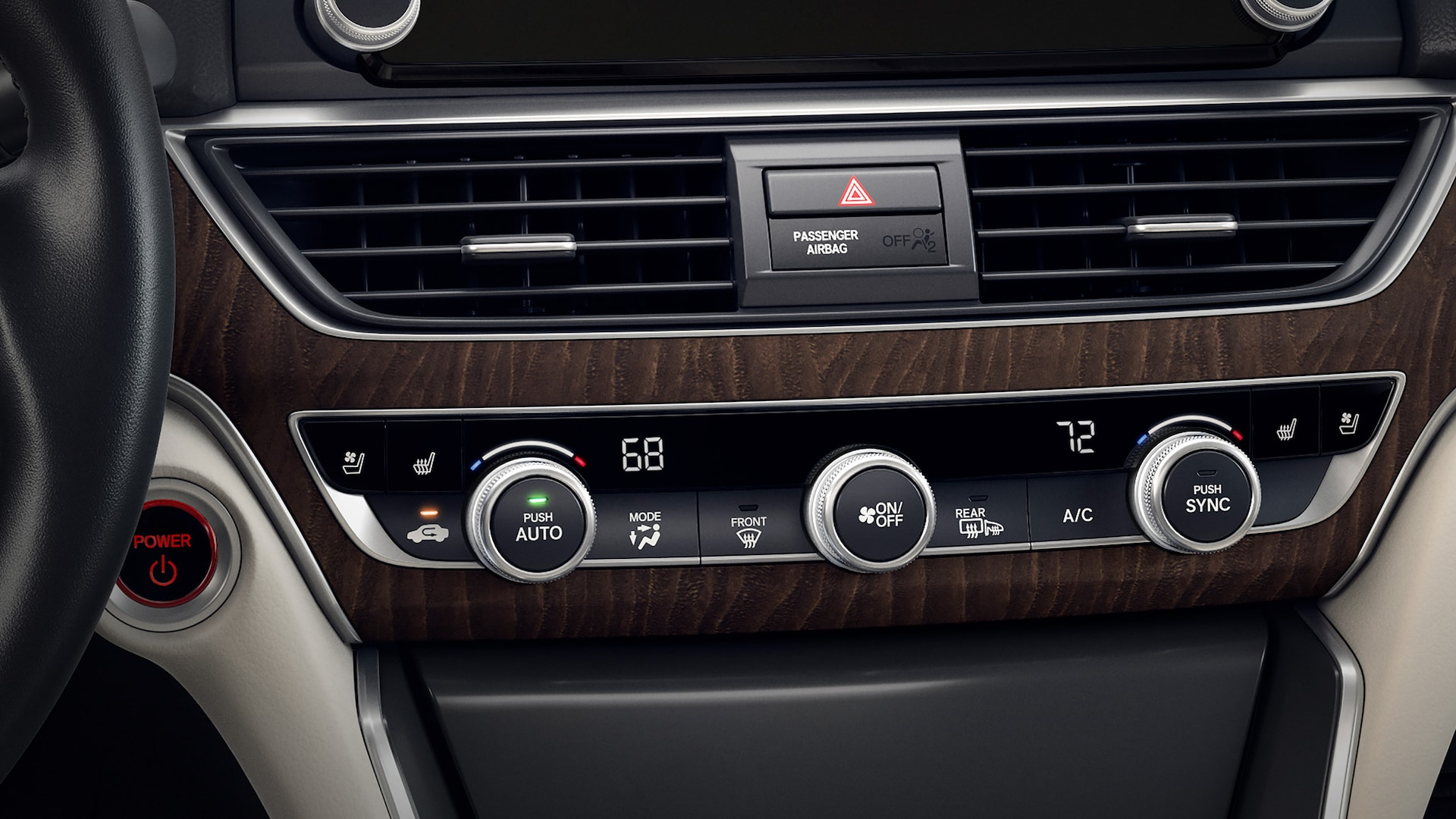 Dual-zone automatic climate control detail in the 2020 Honda Accord Hybrid.