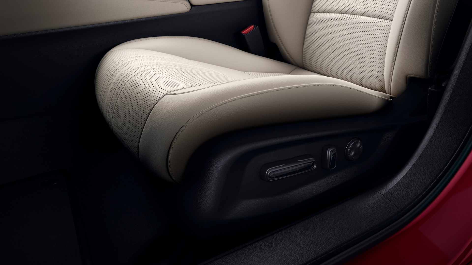 Driver's seat power-adjustable controls detail in the 2020 Honda Accord Touring 2.0T with Ivory Leather.