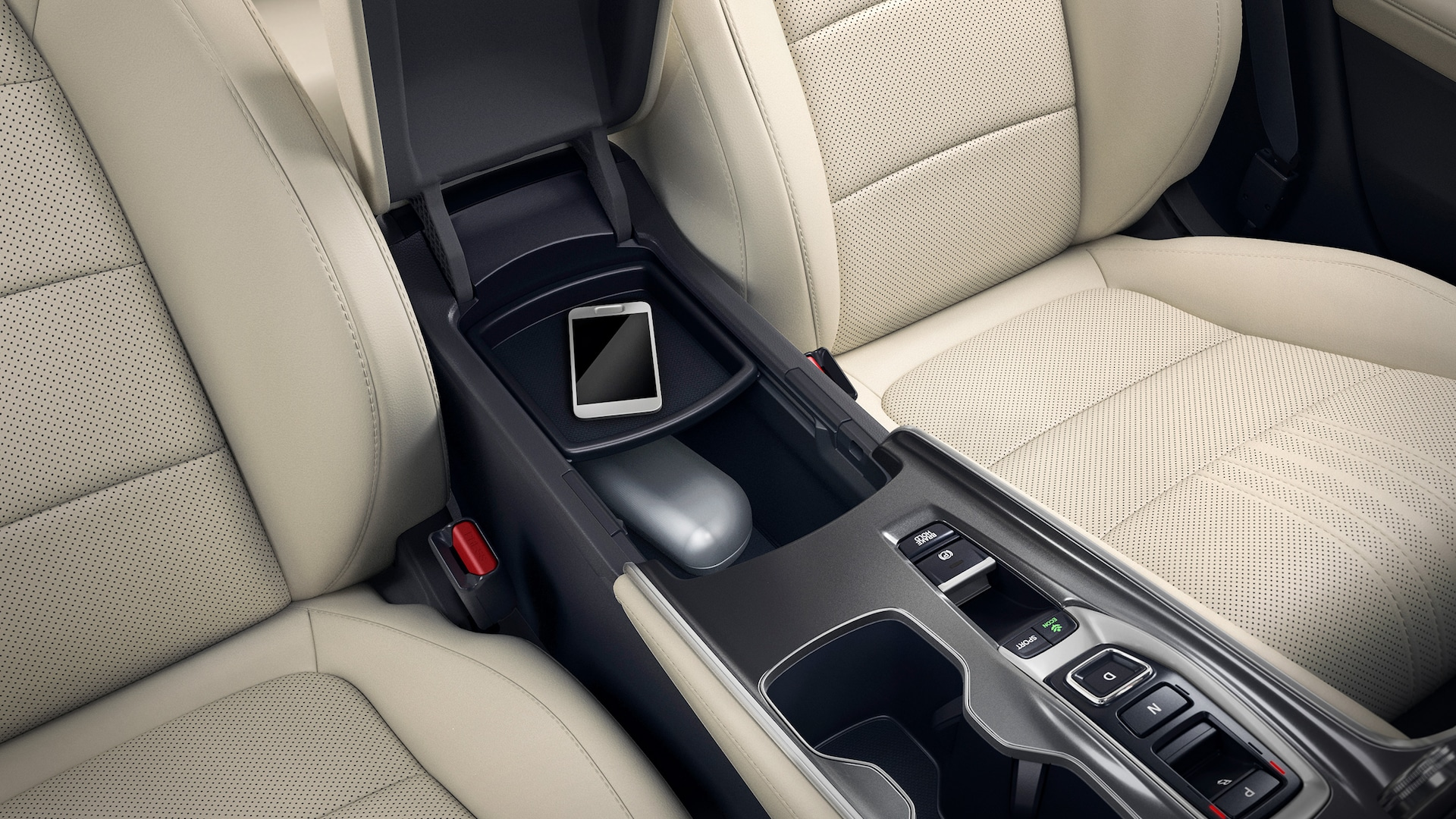 Center console storage compartment detail in the 2020 Honda Accord Touring 2.0T.