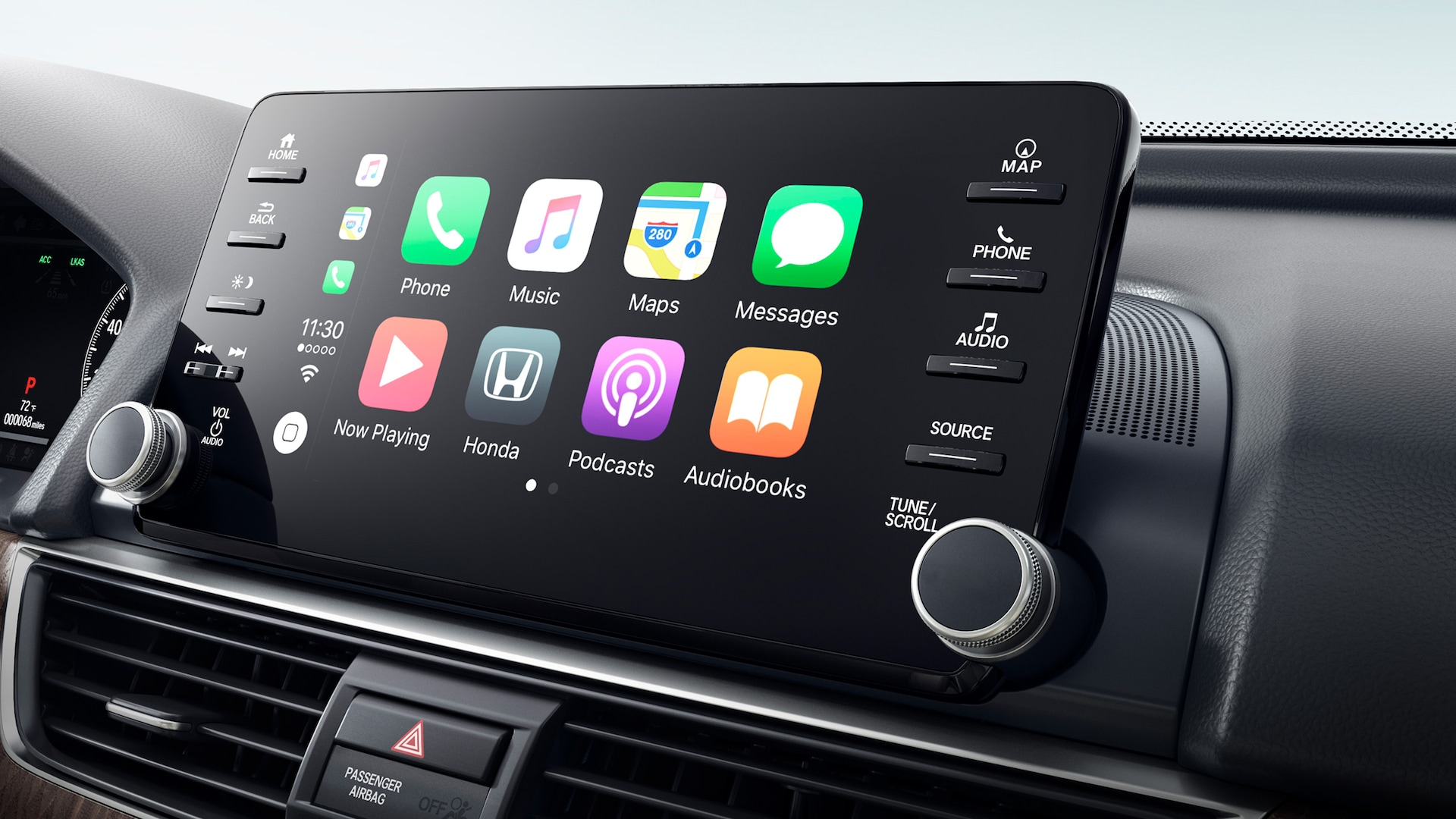 Integración con Apple CarPlay® en el sistema de audio en pantalla táctil del Honda Accord Touring 2.0T 2020.