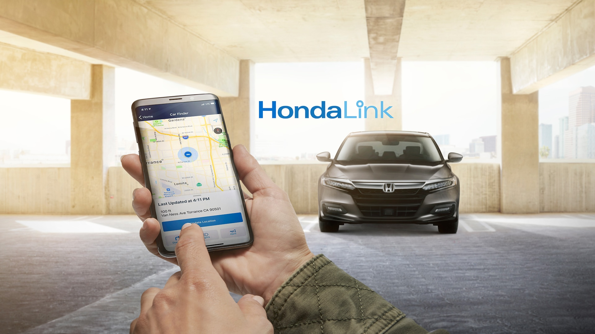 HondaLink® welcome screen detail on smartphone, available for 2020 Honda Accord Touring 2.0T.