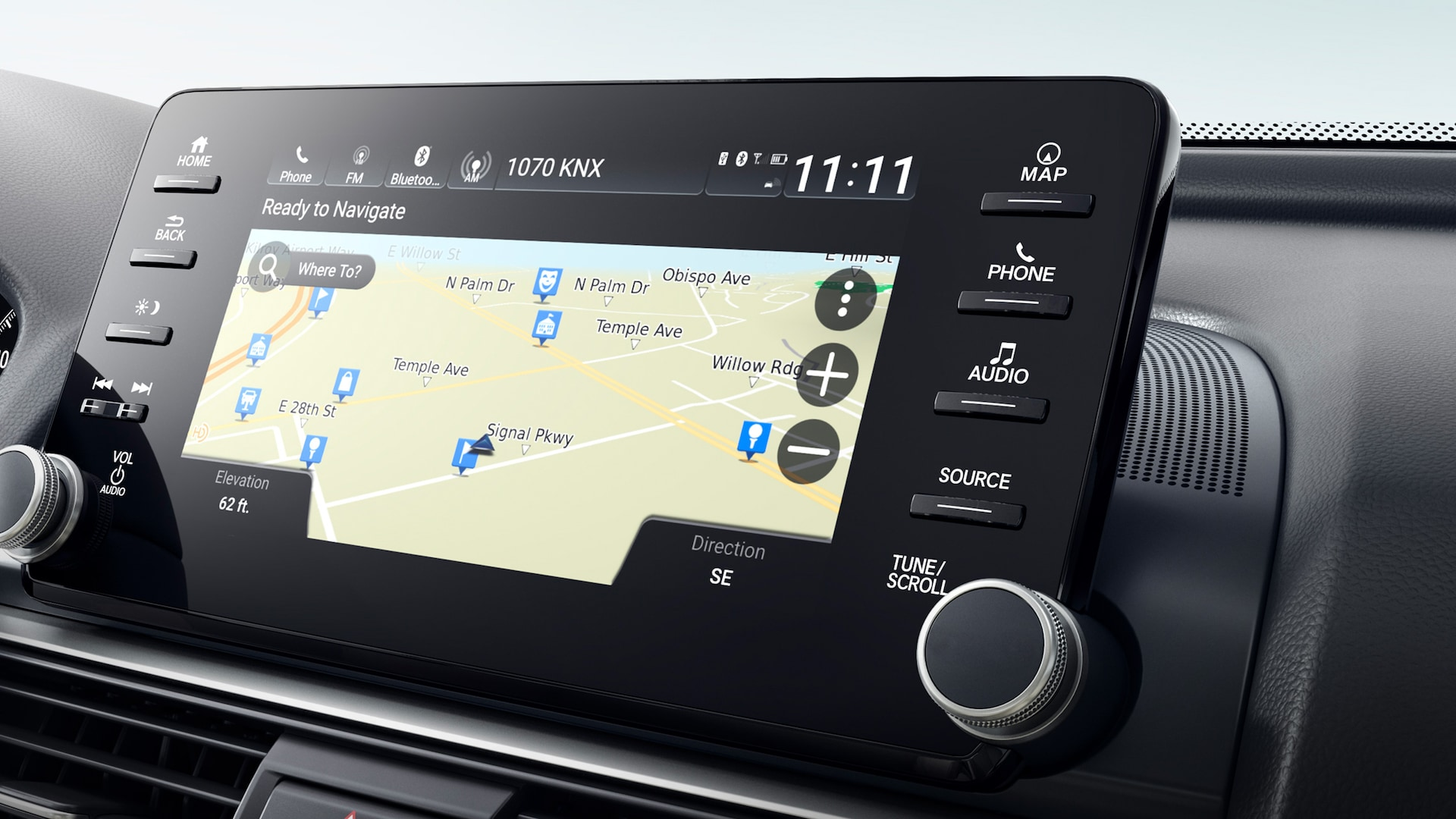 Navigation map system displayed on Display Audio touch-screen in the 2020 Honda Accord Touring 2.0T.