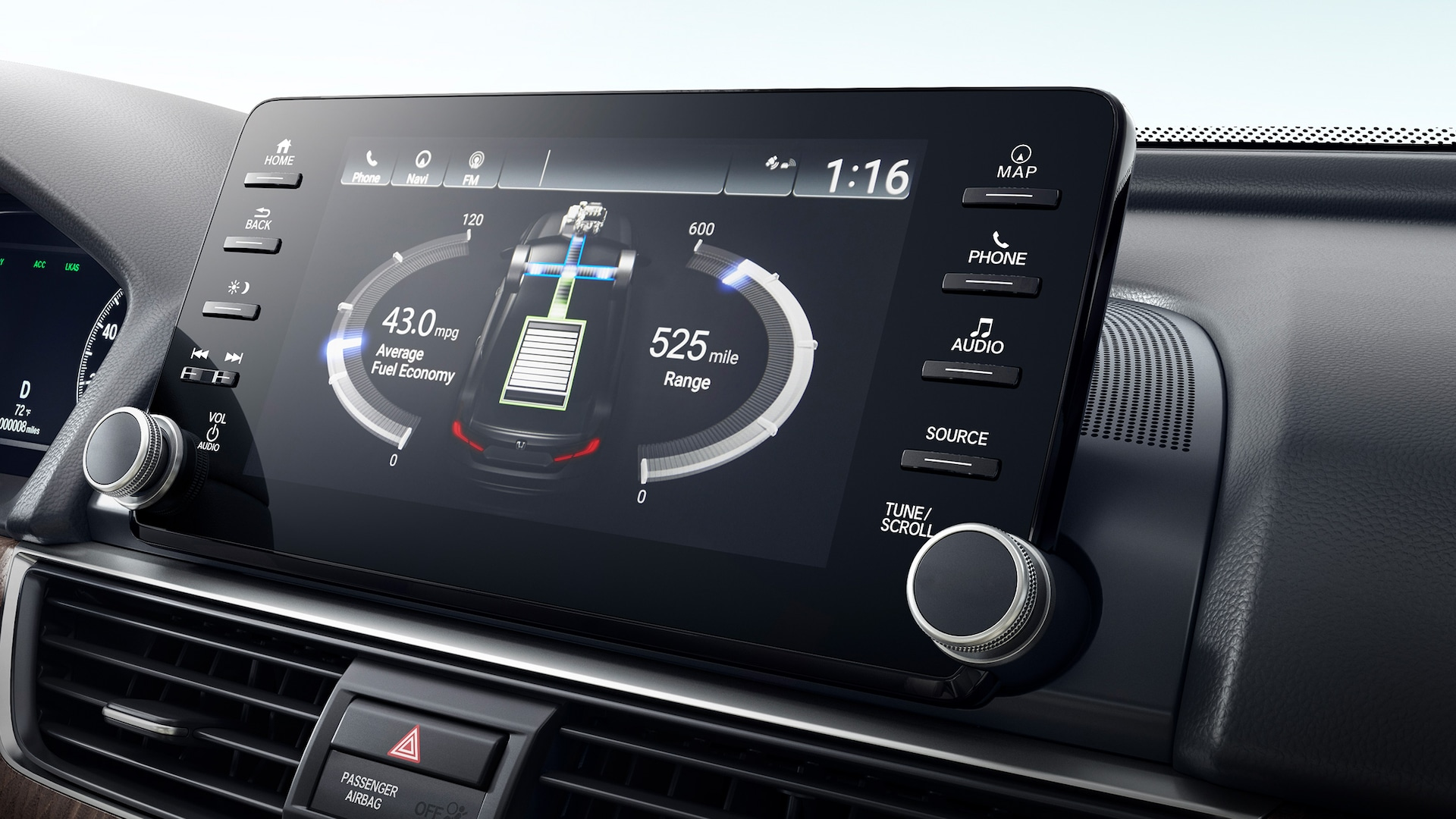 Display Audio touch-screen detail, displaying Hybrid power flow, in the 2020 Honda Accord Hybrid Touring.