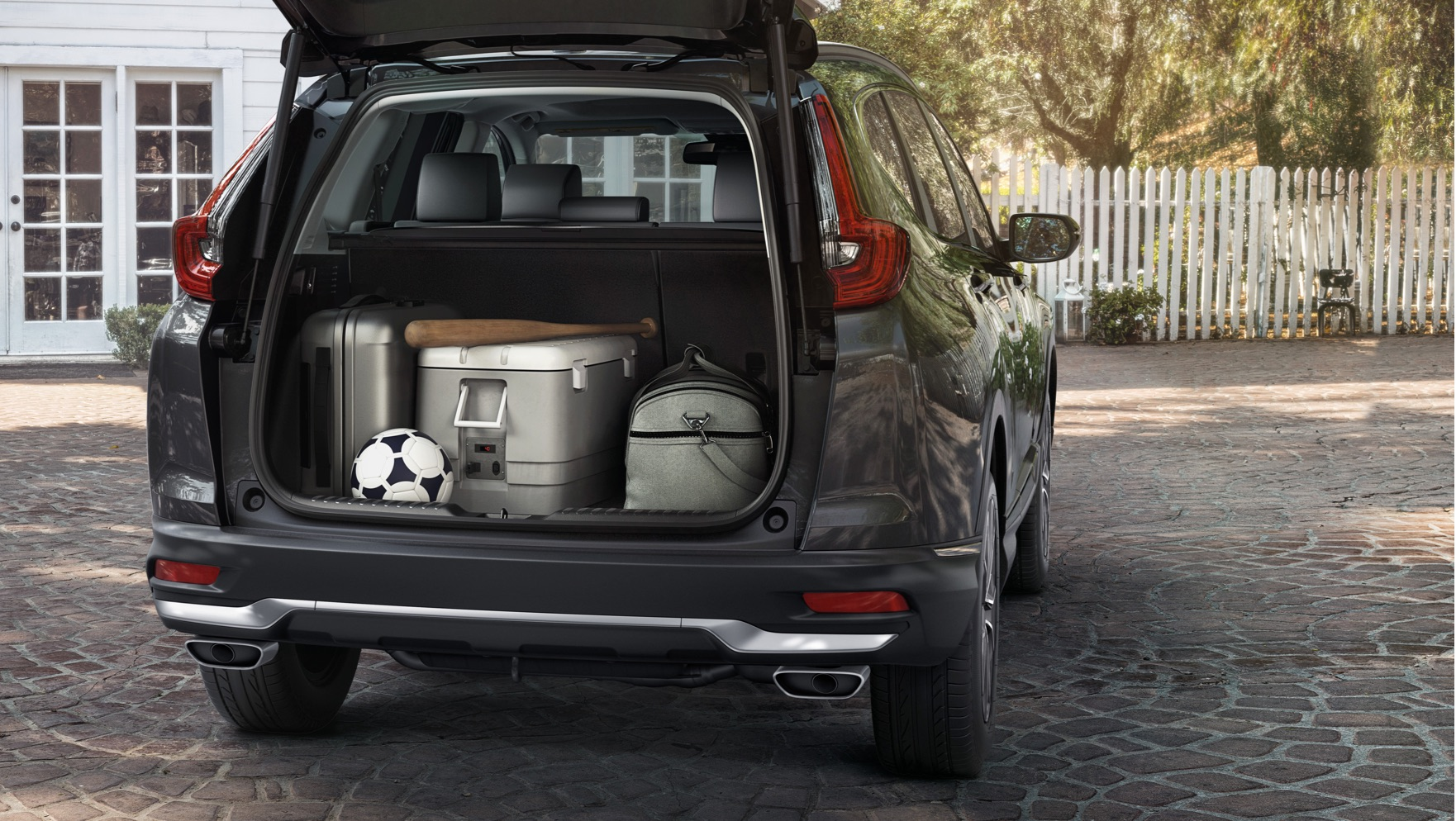 Rear view of the 2020 Honda    CR-V in Modern Steel Metallic showing sizable max cargo volume.